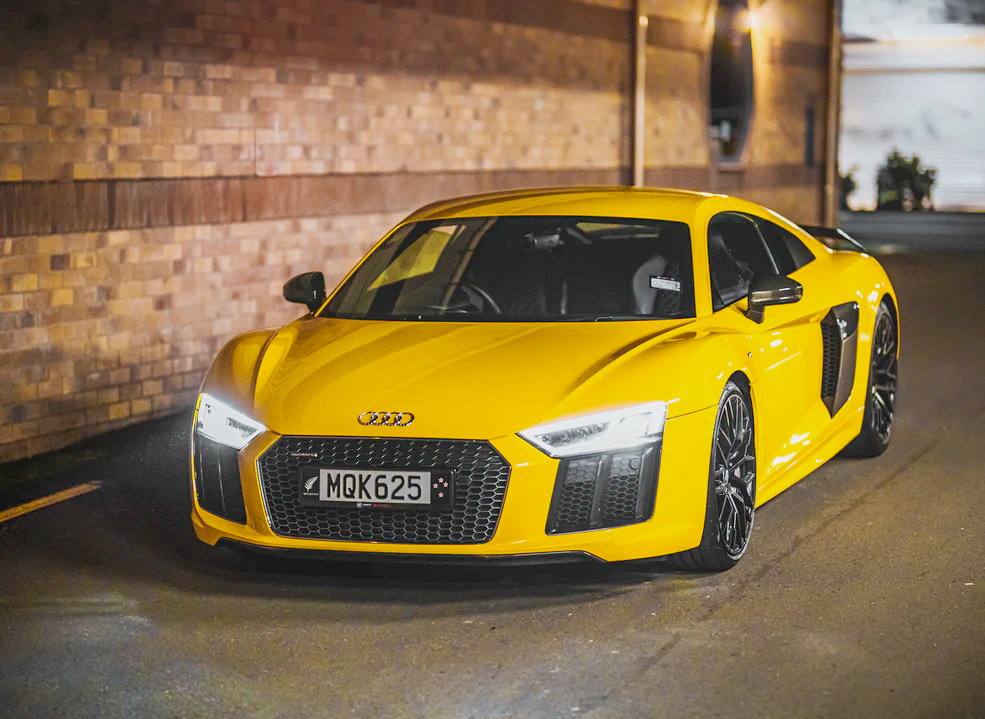Image of a Yellow Audi R8 for automotive photography.