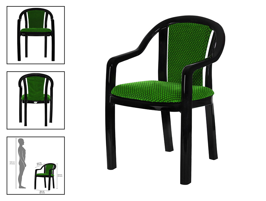 amazon product chair with multiple view and size comparison with human