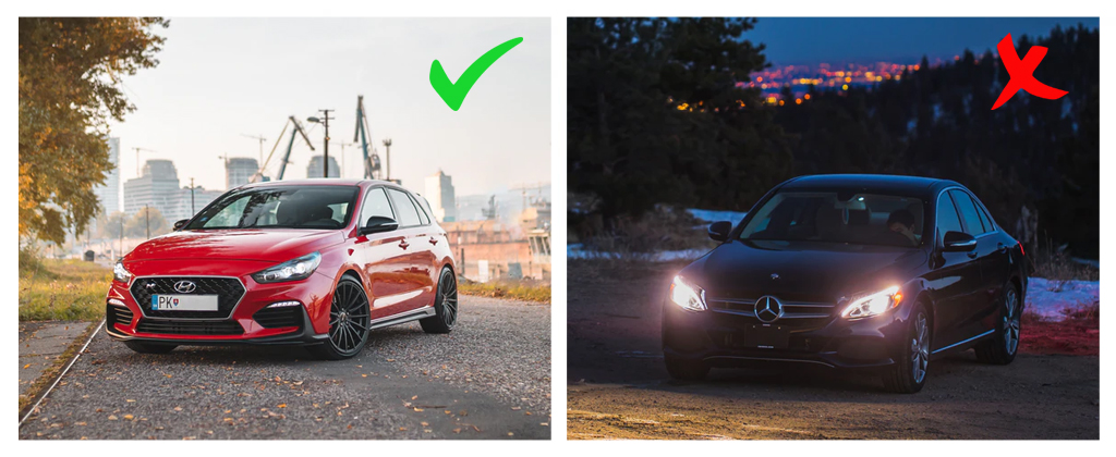 Car comparison between proper exposure and under exposure for automotive photography.
