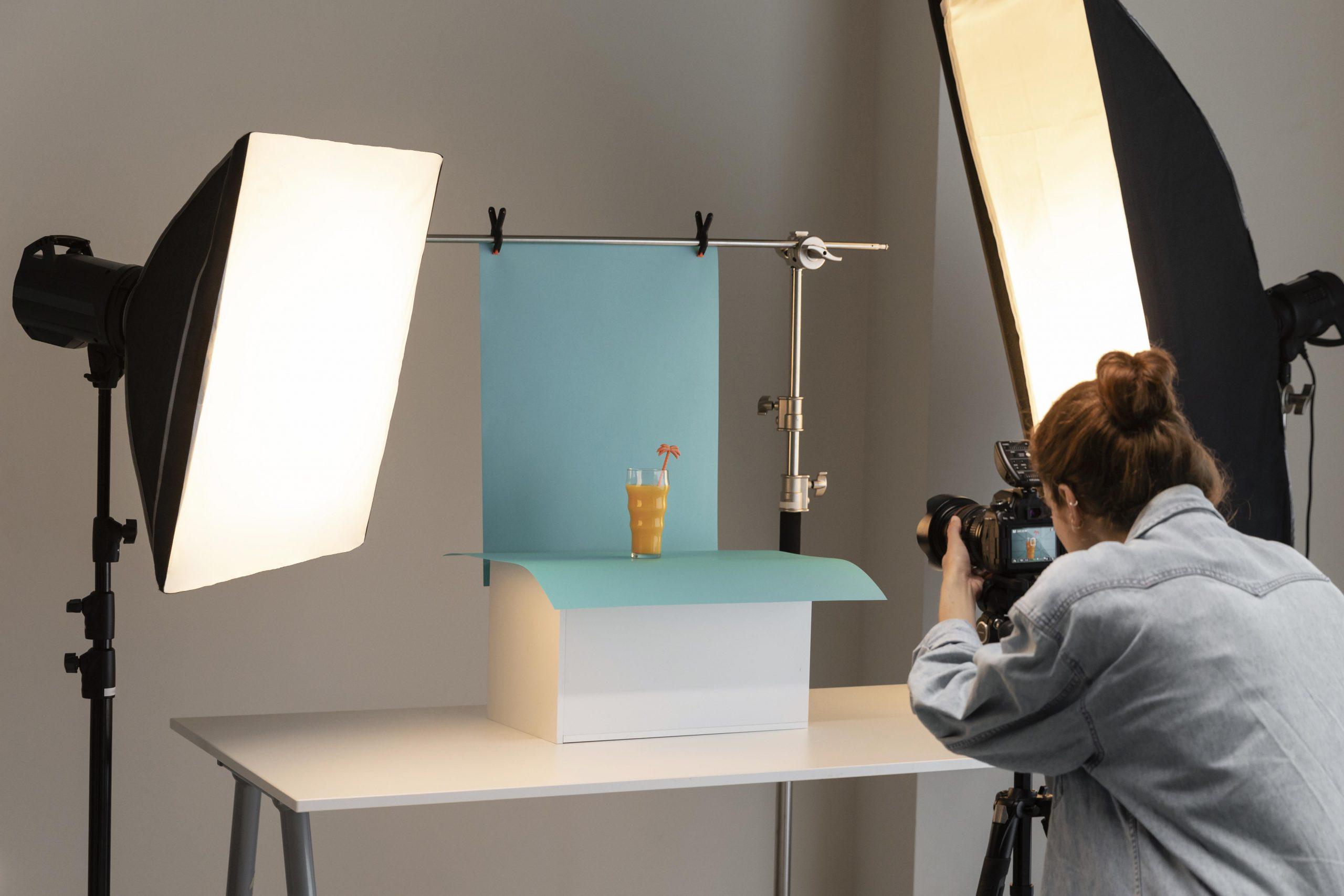 Product photoshoot using LED lights
