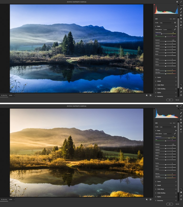 color temperature adjustment in photoshop